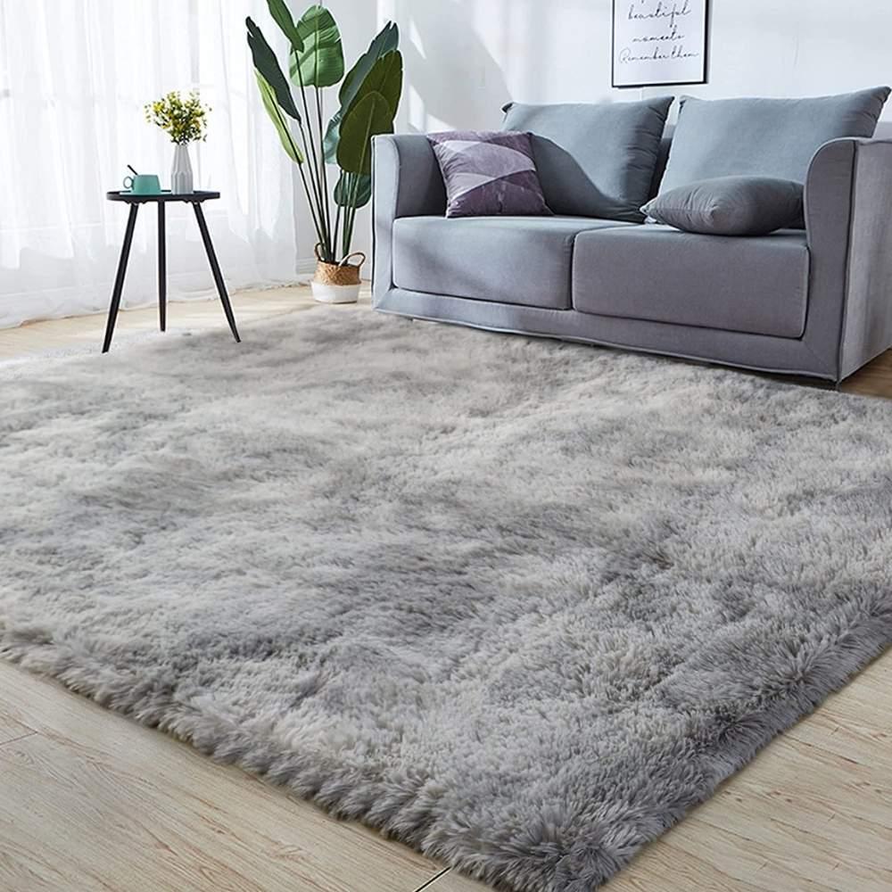 buy fuzzy silver rug online