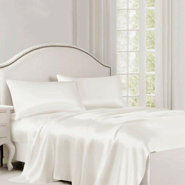 buy ivory silk flat sheet