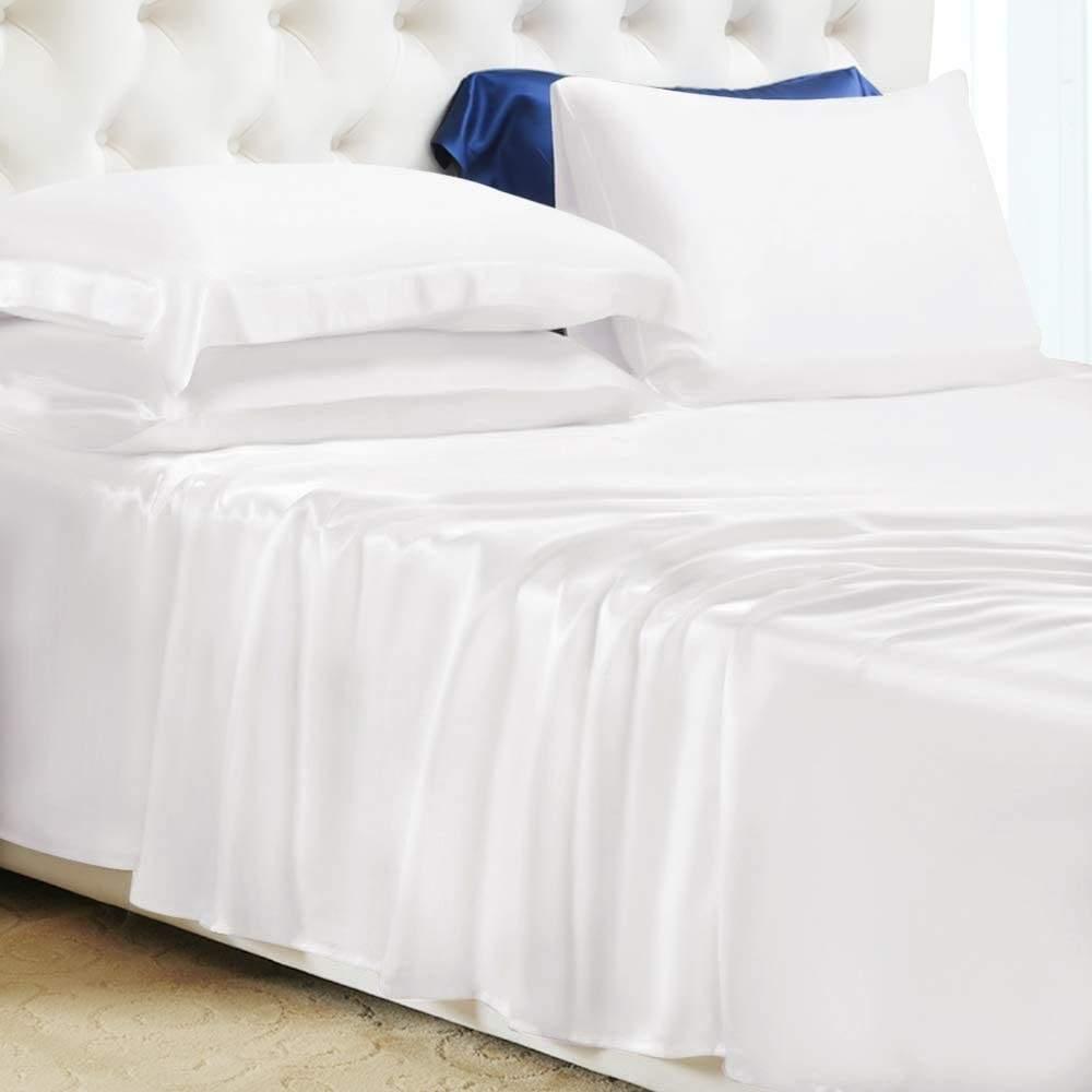buy white mulberry silk sheet